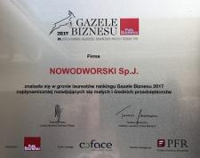 Nowodworski Sp. j. z tytułem Gazeli Biznesu 2017