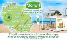 Świeże soki i inne zdrowe produkty Marwit na plażach i w górach! Znajdziesz je w barach Freebox